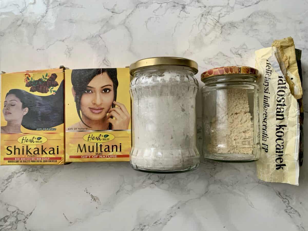 DIY szampon do włosów z glinką, mąką i Shikakai   no poo